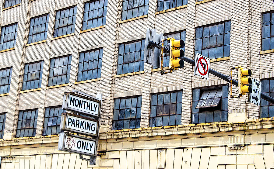 Information Medium Photograph - Urban Garage Monthly Parking Only by Janice Rae Pariza
