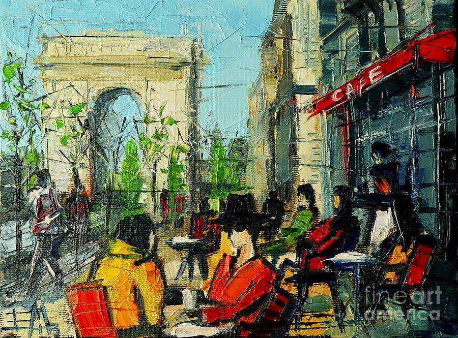 Champs Elysees Painting - Urban Story - Champs Elysees by Mona Edulesco