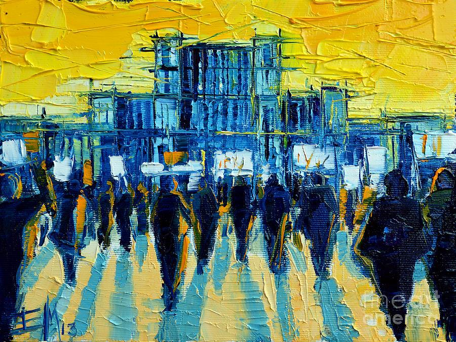 Mona Edulescu Painting - Urban Story - The Romanian Revolution by Mona Edulesco