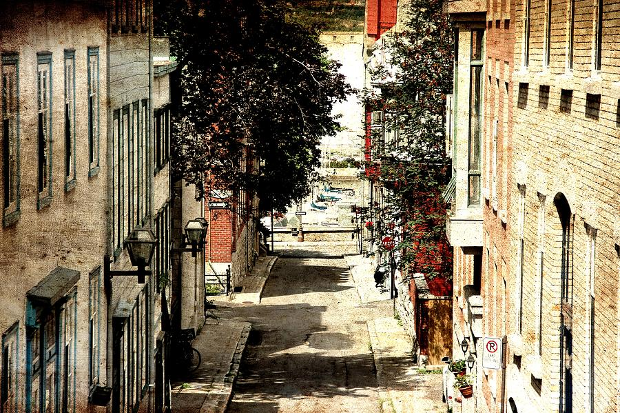 Quebec City Photograph - Urban Street Scene Alleyway Photograph by Laura Carter