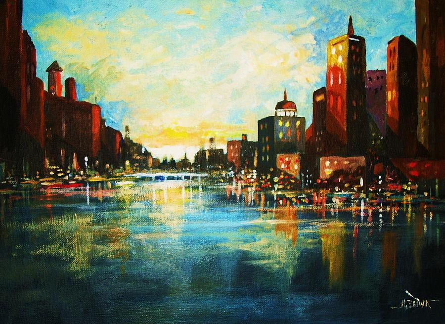 Cityscapes Painting - Urban Sunset by Al Brown