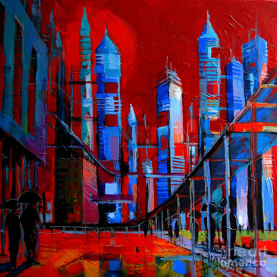 Urban Vision Painting - Urban Vision - City Of The Future by Mona Edulesco