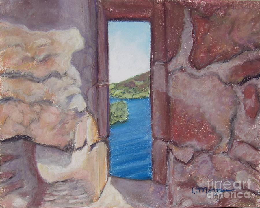 Loch Ness Painting - Archers Window Urquhart Ruins Loch Ness by Laurie Morgan