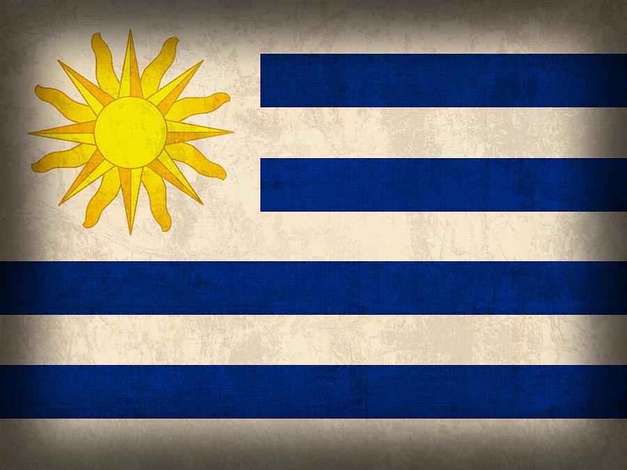Flag Vintage Distressed Finish Mixed Media By Design Turnpike - Uruguay flag