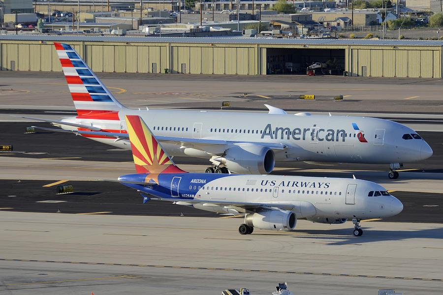Airplane Photograph - Us Airways Airbus A319 N826aw Arizona American Boeing 787 N801ac Phoenix Sky Harbor March 10 2015 by Brian Lockett