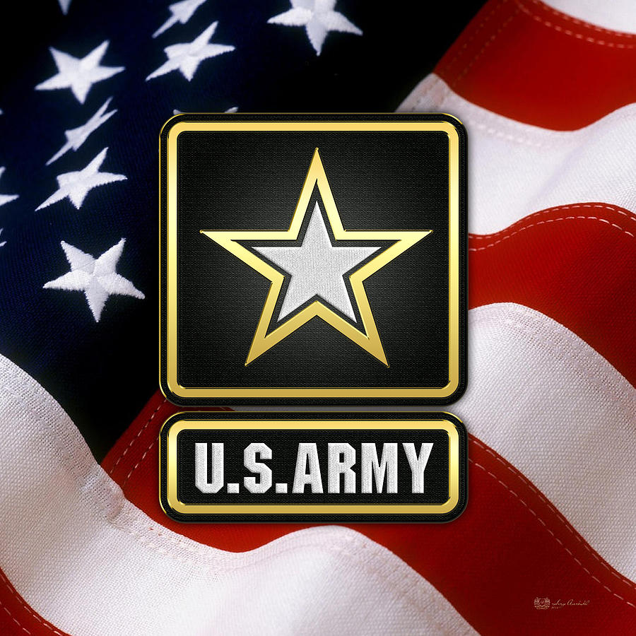 Military Heraldry Digital Art - U. S. Army Logo Over American Flag. by Serge Averbukh