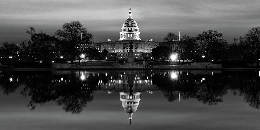 Horizontal Photograph - U.s. Capitol Building & Reflecting by Panoramic Images