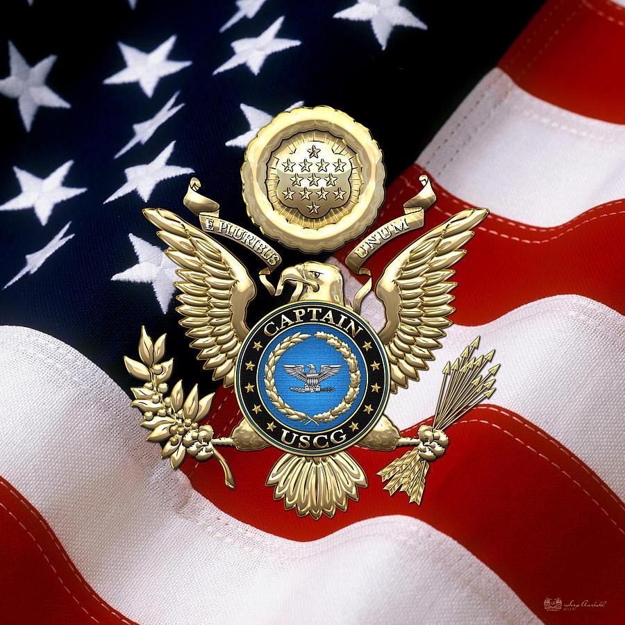 Us Coast Guard Captain Capt Rank Insignia Over Gold