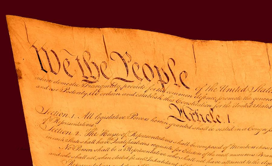 13 Drawing - Us Constitution Closest Closeup Red Brown Background by L Brown