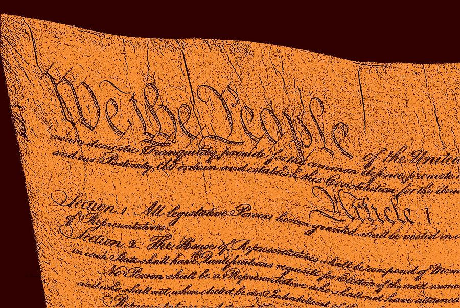 13 Drawing - Us Constitution Closeup Sculpture Brown Background by L Brown
