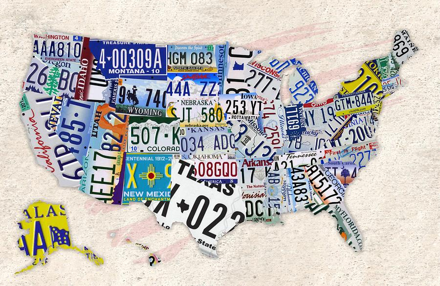 Us License Plate Map Digital Art By Helena Kay - Us-plates-map