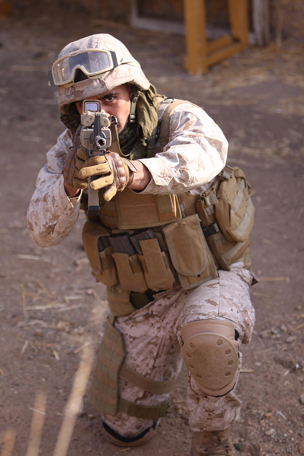 Military Photograph - Us Marine At Work by Shoal Hollingsworth
