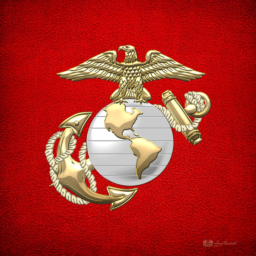 U S Marine Corps Eagle Globe And Anchor E G A On Red Leather