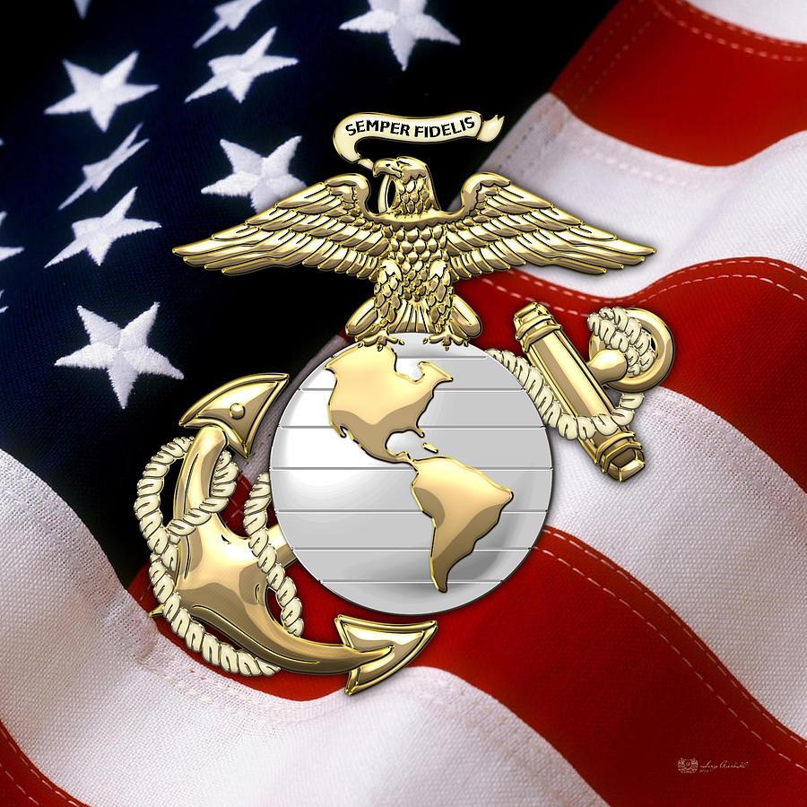 U S Marine Corps U S M C Eagle Globe And Anchor Over American Flag Digital Art By Serge Averbukh