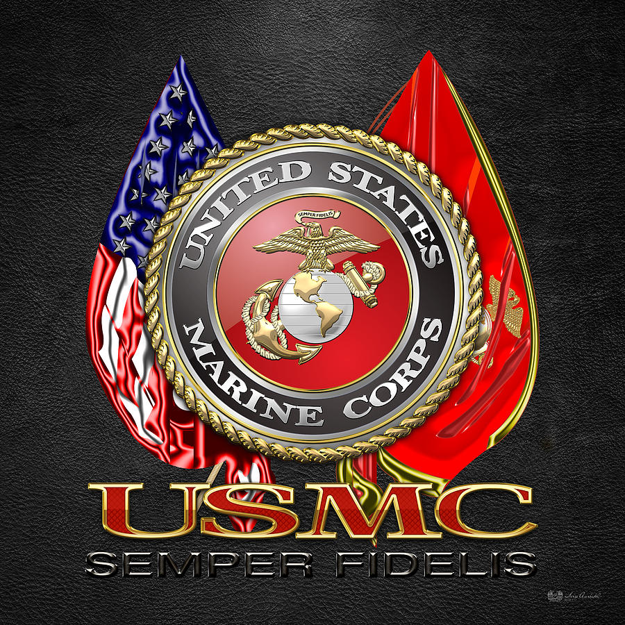 Usmc Logo Wallpaper: U. S. Marine Corps U S M C Emblem On Black Digital Art By