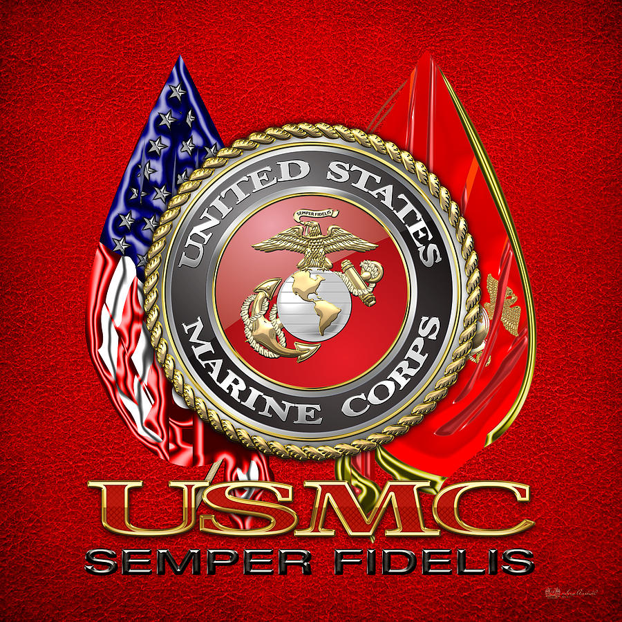 Patriotic Digital Art - U. S. Marine Corps U S M C Emblem On Red by Serge Averbukh