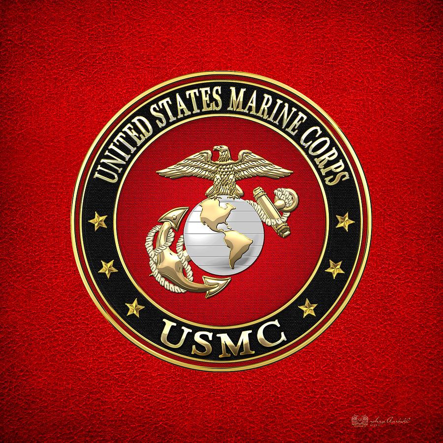 United States Marine Corps Digital Art - U. S. Marine Corps - U S M C Emblem Special Edition by Serge Averbukh