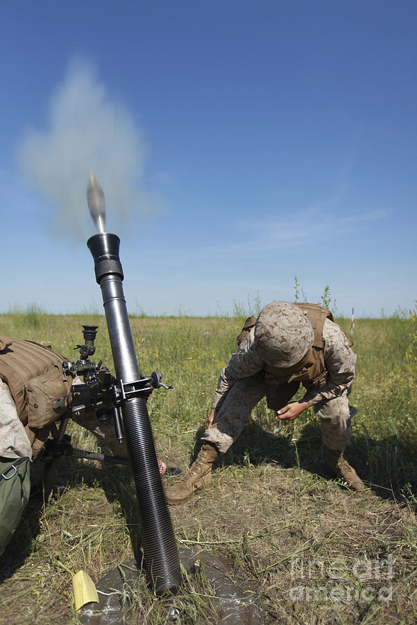 81mm Mortar System : U s marines fire an m mm mortar photograph by