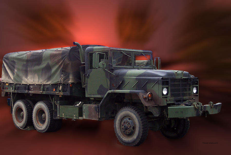 Army Photograph - Us Military Truck by Thomas Woolworth