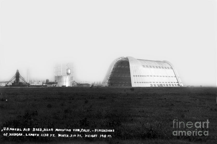 Hangar One Photograph - U.s. Naval Air Base Hangar One Is One Of The Worlds Largest Fre by California Views Archives Mr Pat Hathaway Archives