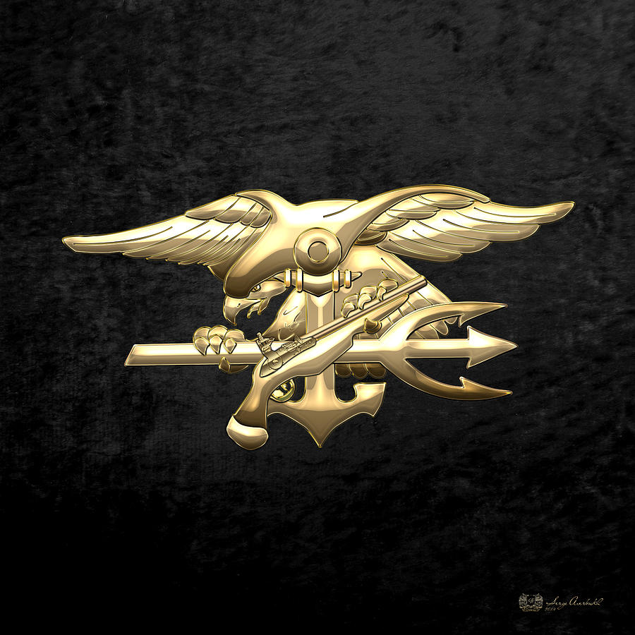 'military Insignia & Heraldry 3d' Collection By Serge Averbukh Digital Art - U. S. Navy S E A Ls Emblem On Black Velvet by Serge Averbukh