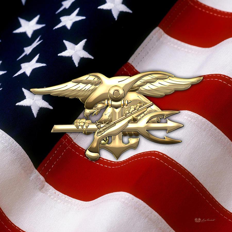 United States Navy Seals Digital Art - U. S. Navy S E A Ls Emblem Over American Flag by Serge Averbukh