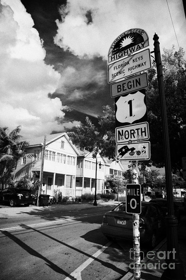 Route Photograph - Us Route 1 Mile Marker 0 Start Of The Highway Key West Florida Usa by Joe Fox
