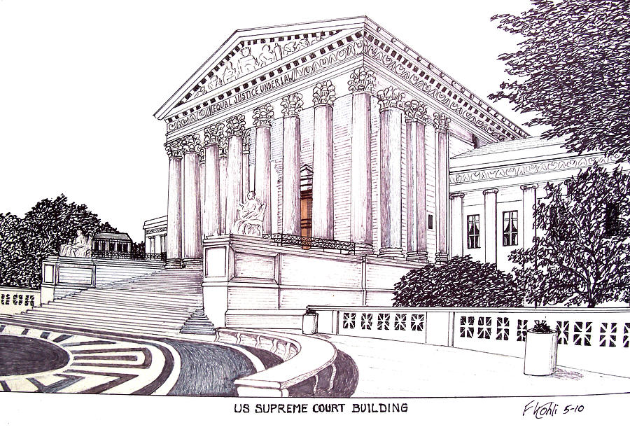 Pen And Ink Drawings Drawing - Us Supreme Court Building by Frederic Kohli