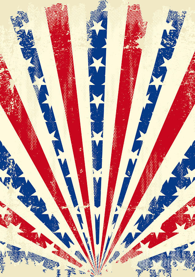 Patriotic Digital Art - Usa Brushed Sunbeams. A Vintage by Christophe Boisson