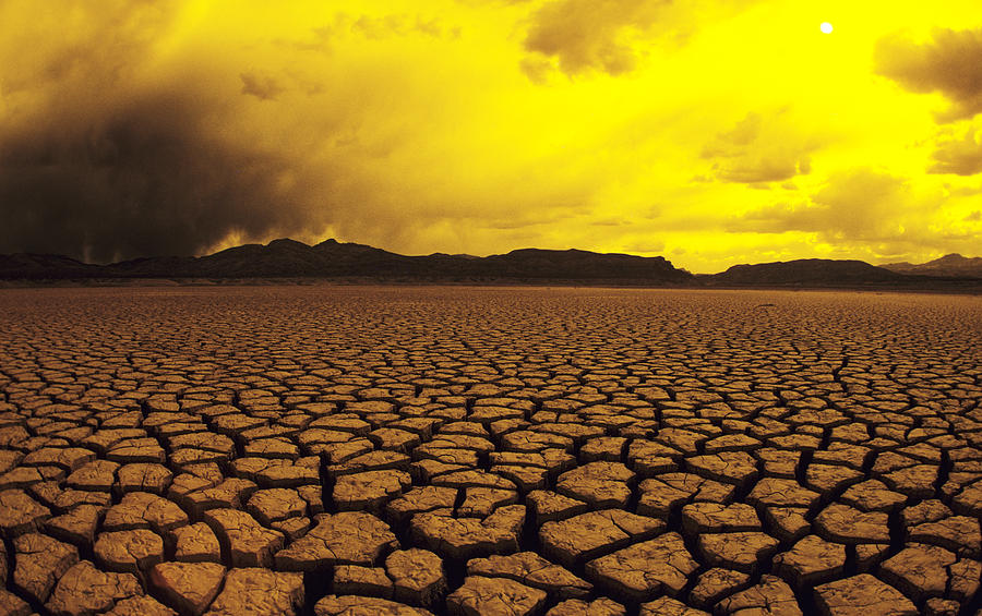 Horizon Photograph - Usa, California, Cracked Mud In Dry by Larry Dale Gordon