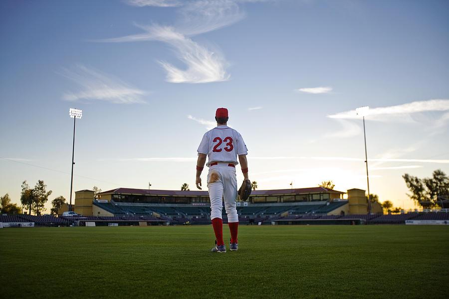 USA, California, San Bernardino, baseball outfielder looking towards diamond Photograph by Donald Miralle