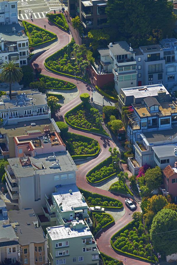 Aerial View Photograph - Usa, California, San Francisco, Lombard by David Wall