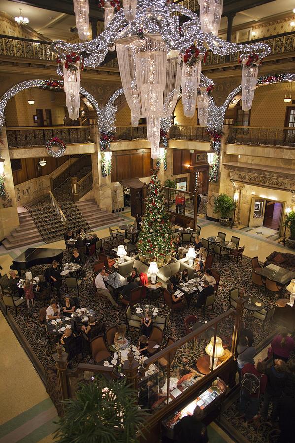 Christmas In Denver Colorado.Usa Colorado Denver Brown Palace Hotel Interior View With Christmas Decorations