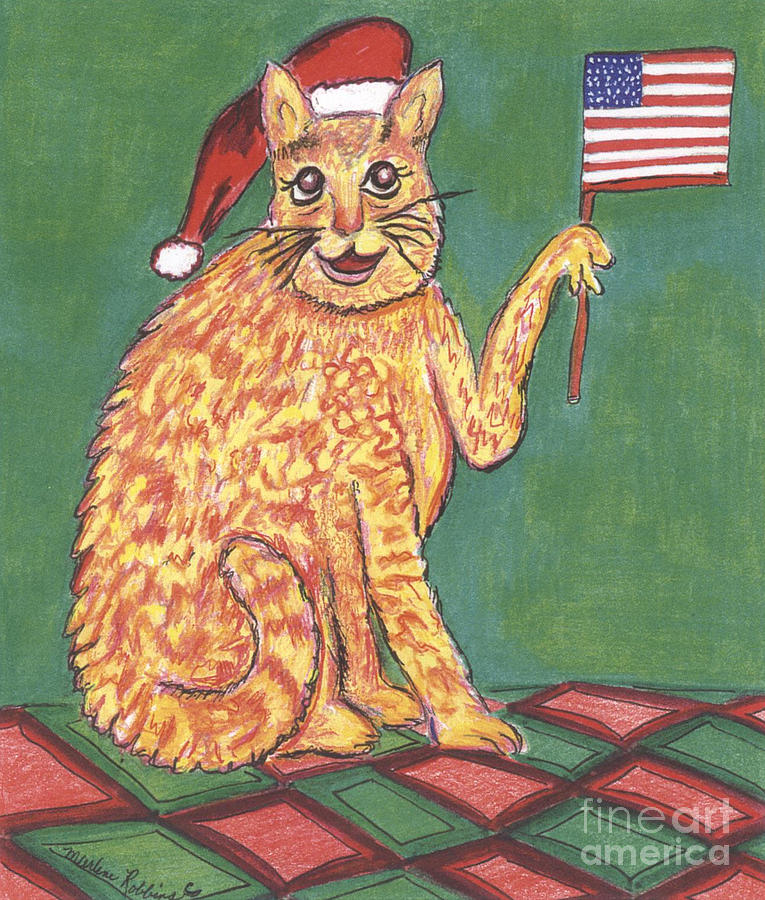 Cat Painting - USA Flag Cat by Marlene Robbins