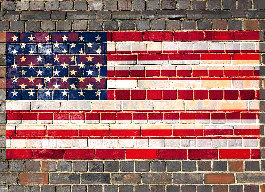 Usa Flag On A Brick Wall Digital Art By Steve Ball