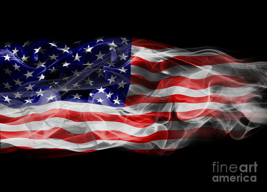 Flag Photograph - Usa Flag Smoke  by Jt PhotoDesign