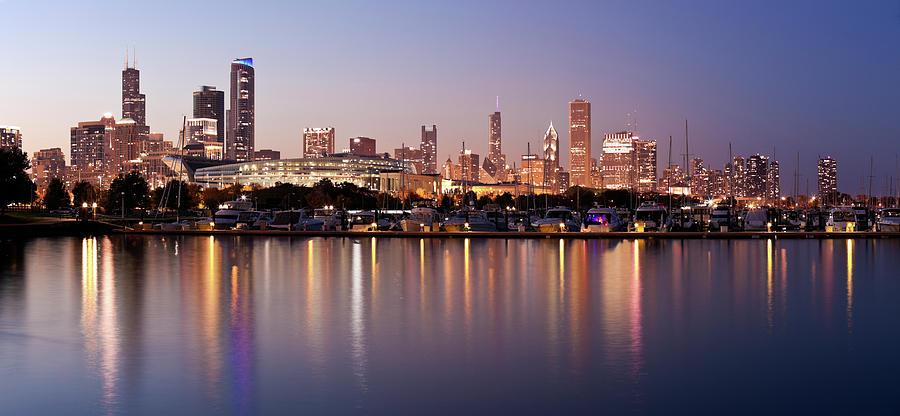 Usa, Illinois, Chicago Skyline At Dusk Photograph by Tetra Images - Henryk Sadura