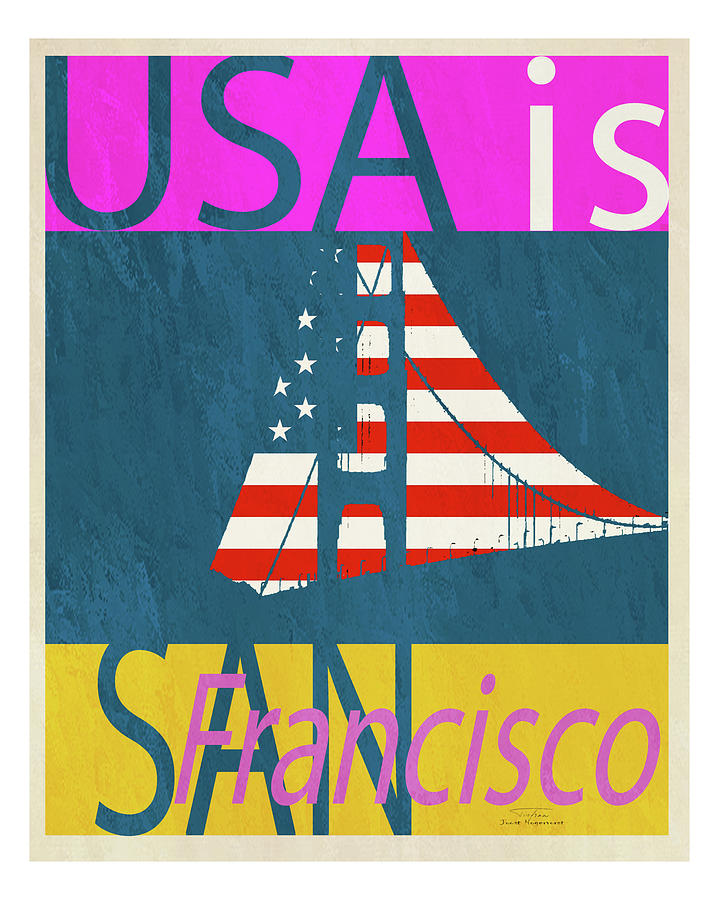 United States Drawing - Usa Is San Francisco by MGL Meiklejohn Graphics Licensing