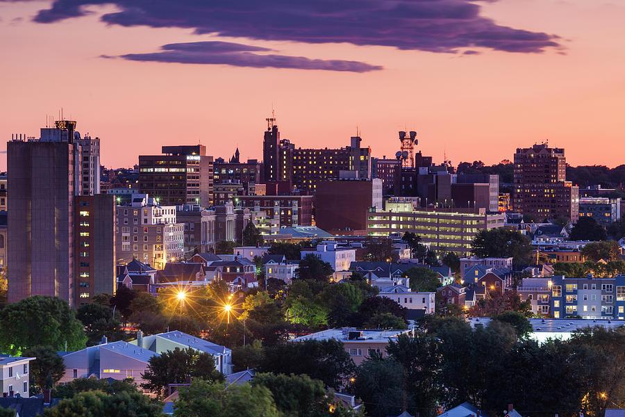 Usa, Maine, Portland, Skyline Photograph by Walter Bibikow