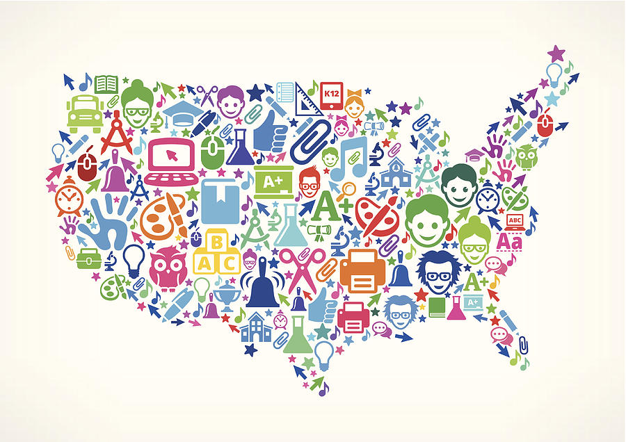 Usa Map Education & School Royalty Free Vector Art Pattern by Bubaone