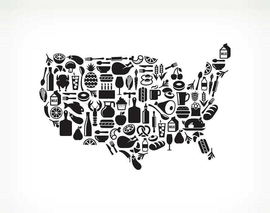 Usa Map Food & Drink Royalty Free by Bubaone