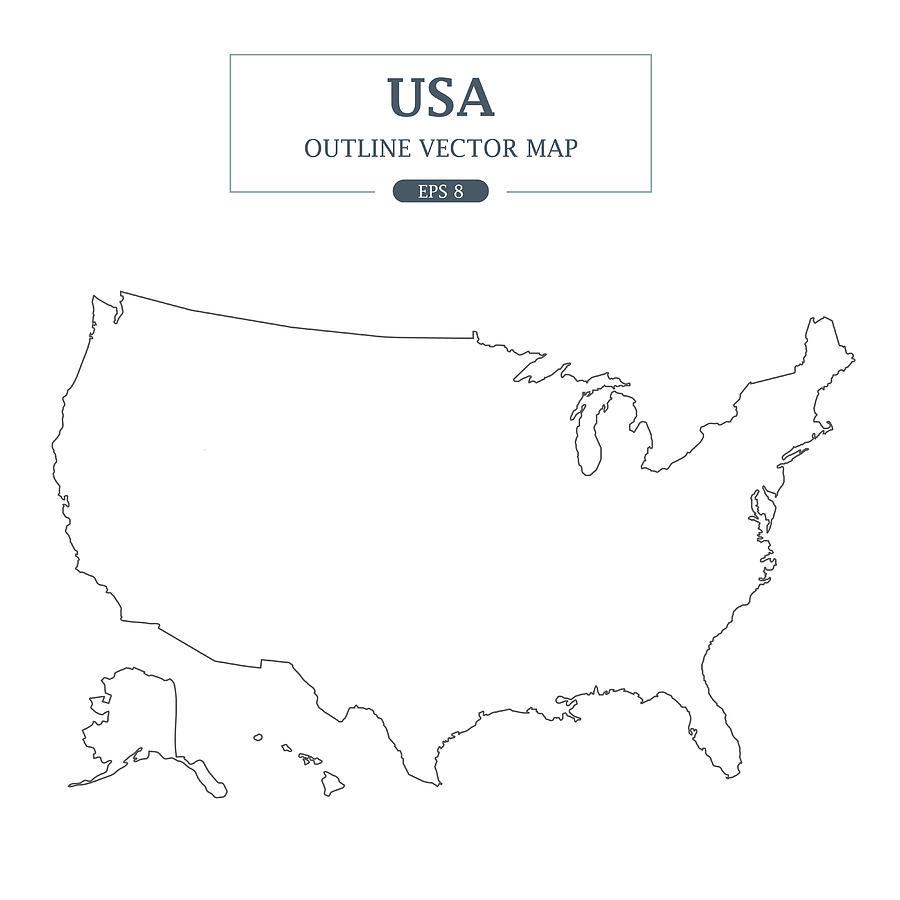 Usa Map Outline Border On White Background Vector Illustration by Ctrlaplus1