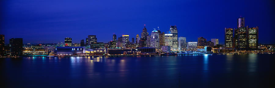 Color Image Photograph - Usa, Michigan, Detroit, Night by Panoramic Images