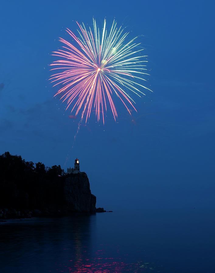 Firework Photograph - Usa, Minnesota, Two Harbors, Split Rock by Peter Hawkins