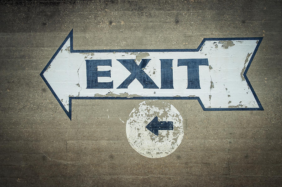 Direction Photograph - Usa, Mississippi, Exit Sign In Great by Dosfotos