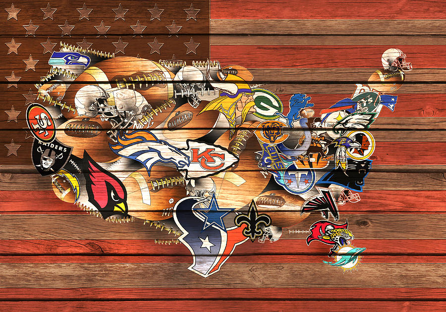 Nfl Painting - Usa Nfl Map Collage 10 by Bekim M