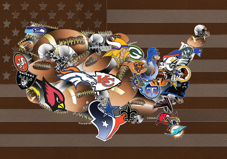 Usa Nfl Map Collage Painting By Bekim Art - Nfl team us map
