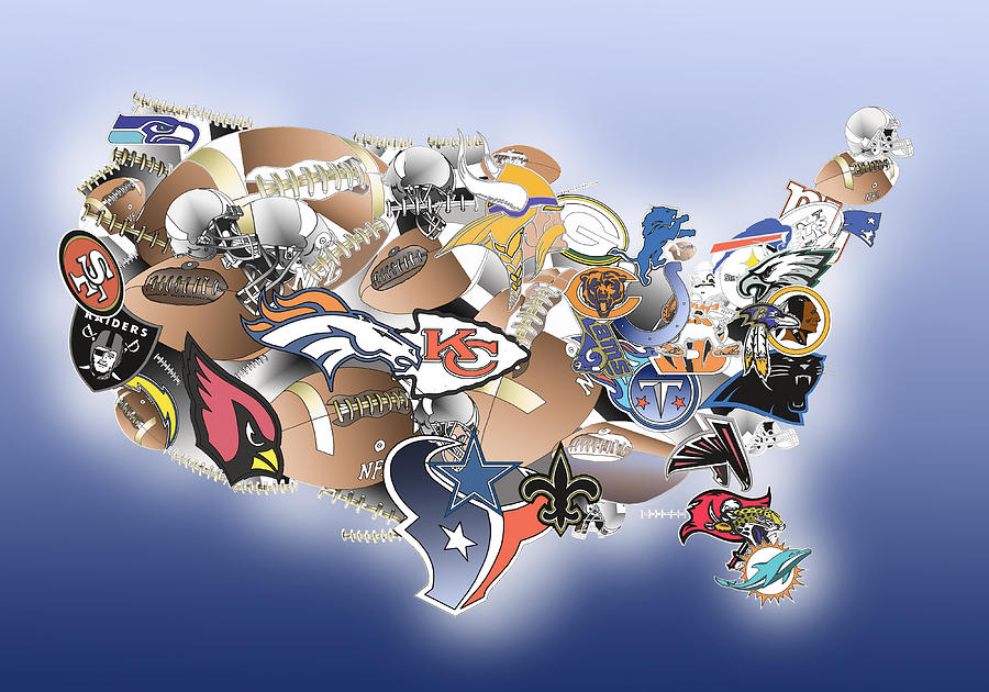 Usa Nfl Map Collage Painting By Bekim Art - Nfl us map