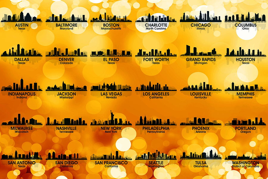 City Silhouette Mixed Media - Usa Skylines 3 by Angelina Tamez