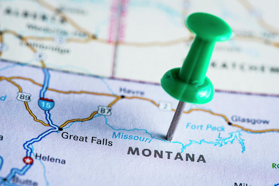 Usa States On Map Montana Photograph by Ilbusca